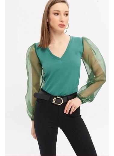 ESQ Organize Balon Kol V Yaka Bluz Yeşil
